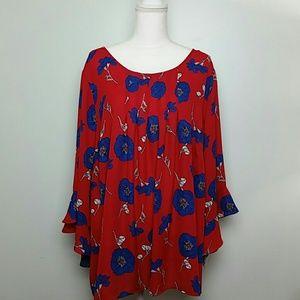 Liz Claiborne red floral 3/4 sleeve blouse sz 3x